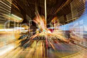 Zoom Burst Photograph of Carousel Merry Go Round Horse