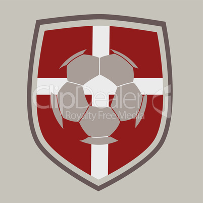 Soccer label with the flag of Denmark