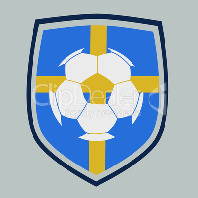 Soccer label with the flag of Sweden