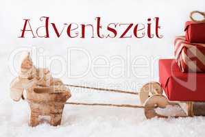 Reindeer With Sled On Snow, Adventszeit Means Advent Season