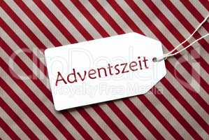 Label On Red Wrapping Paper, Adventszeit Means Advent Season