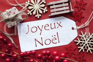 Label WIth Decoration, Joyeux Noel Means Merry Christmas