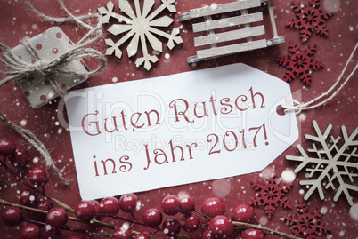 Christmas Decoration, Label With Guten Rutsch 2017 Means New Year