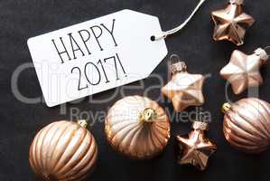 Bronze Christmas Tree Balls, Text Happy 2017