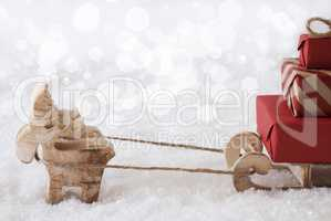Reindeer With Sled, White Bokeh Background, Copy Space