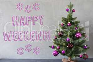 Christmas Tree, Cement Wall, Text Happy Weekend