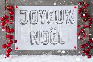 Label, Snowflakes, Decoration, Joyeux Noel Means Merry Christmas