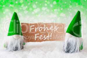 Green Natural Gnomes With Card, Frohes Fest Means Merry Christmas