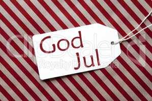 Label On Red Wrapping Paper, God Jul Means Merry Christmas