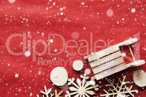 Christmas Decoration Like Sled On Wrapping Paper, Snowflakes, Copy Space