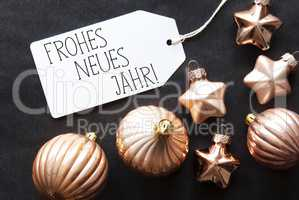 Bronze Christmas Tree Balls, Frohes Neues Means Happy New Year