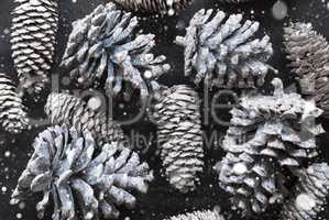 Fir Cone Texture As Christmas Decoration, Flat Lay And Snowflakes