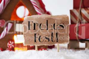 Gingerbread House With Sled, Frohes Fest Means Merry Christmas