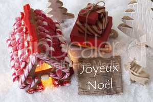 Gingerbread House, Sled, Snow, Joyeux Noel Means Merry Christmas