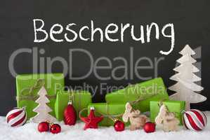 Christmas Decoration, Cement, Snow, Bescherung Means Gift Giving
