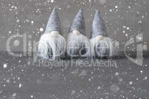 Magic Gnomes, Gray Cement Wall, Copy Spaace, Snowflakes