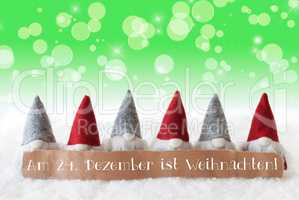 Gnomes, Green Background, Bokeh, Stars, Weihnachten Means Christmas