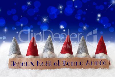 Gnomes, Blue Bokeh, Stars, Bonne Annee Means New Year