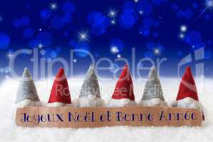 Gnomes, Blue Bokeh, Stars, Bonne Annee Means New Year