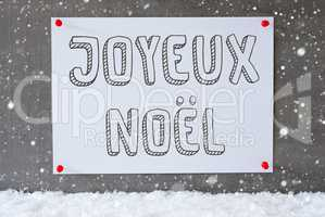 Label On Cement Wall, Snowflakes, Joyeux Noel Means Merry Christmas