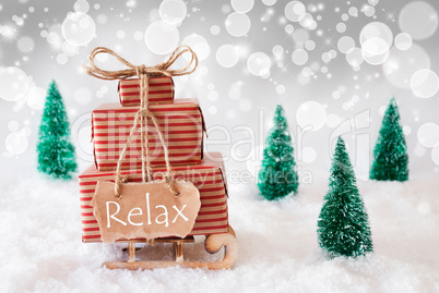 Christmas Sleigh On White Background, Relax