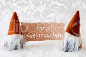 Bronze Gnomes With Card, Text Frohe Weihnachten Means Merry Christmas