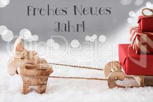 Reindeer With Sled, Silver Background, Neues Jahr Means New Year