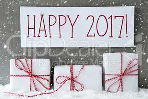 White Gift With Snowflakes, Text Happy 2017