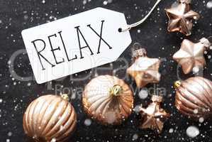Bronze Christmas Balls, Snowflakes, Text Relax
