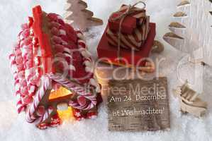 Gingerbread House, Sled, Snow, Weihnachten Means Christmas