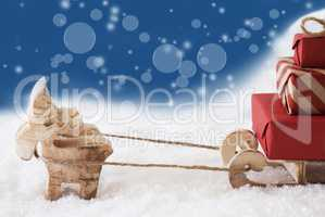 Reindeer With Sled, Copy Space, Blue Bokeh Background