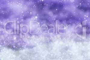 Purple Christmas Background With Snow, Snwoflakes