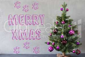 Christmas Tree, Cement Wall, Text Merry Xmas