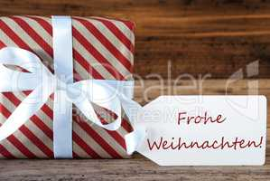 Present With Label, Frohe Weihnachten Means Merry Christmas