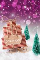 Vertical Christmas Sleigh On Purple Background, Danke Means Than