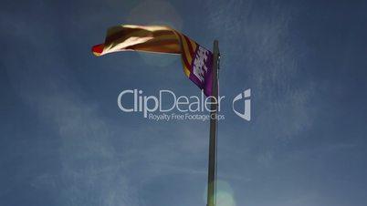 National flag of Majorca on a flagpole