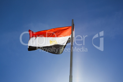 National flag of Egypt on a flagpole