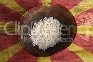 Poverty concept, bowl of rice with Macedonia flag