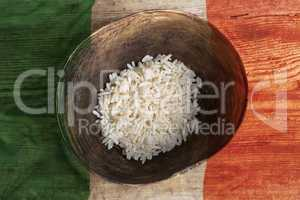 Poverty concept, bowl of rice with Mexican flag