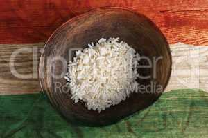 Poverty concept, bowl of rice with Hungary flag