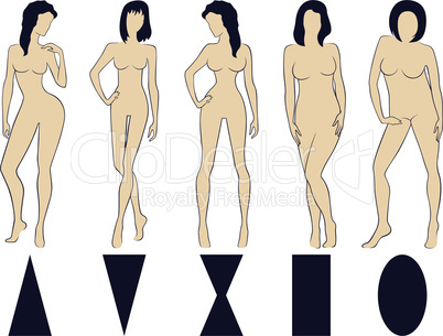 Set of five female figure types with conditional schemes