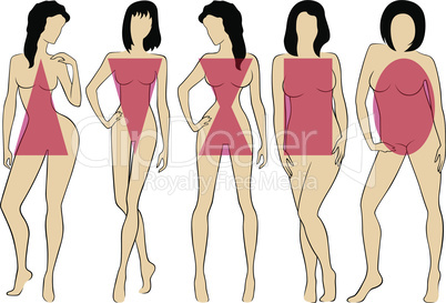 Set of women figures five types with conditional schemes