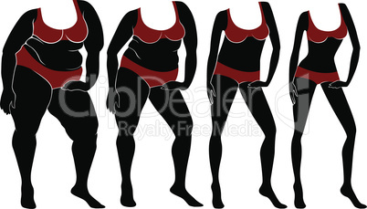 Abstract female bodies on the way to lose weight