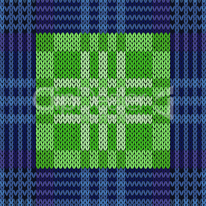 Seamless pattern as a knitted fabric in dark blue and green