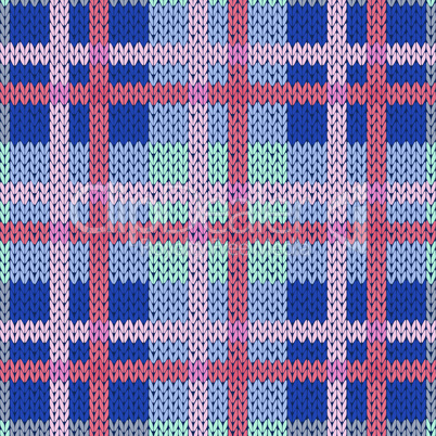Knitting seamless pattern in blue, pink and red colors