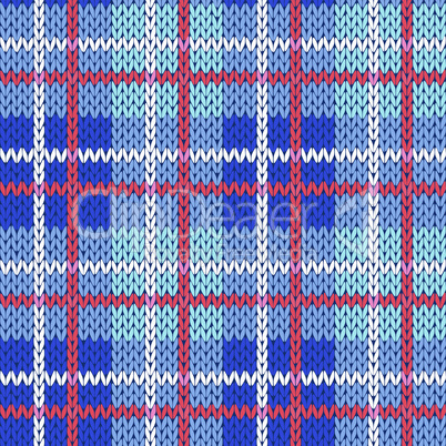 Knitting seamless pattern in blue, white and red colors