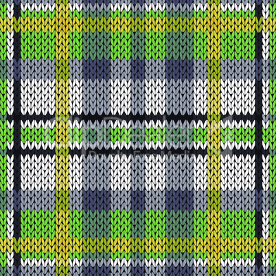 Knitting seamless pattern in green, white, yellow and grey hues