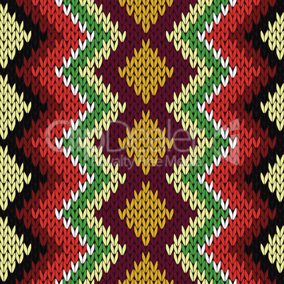 Knitting seamless geometric multicolor pattern