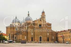 Santa Giustina church and Prato della Valle market square Padova