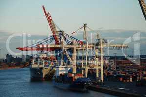 Harbor scene in Hamburg, Germany